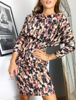 Load image into Gallery viewer, Seattle Brushed Artist Batwing Long Sleeve Midi Dress