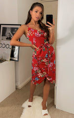 Load image into Gallery viewer, Red Floral Summer Midi Wrap Dress With Cowl Neck