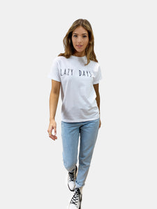 Lazy Days Slogan T-shirt in White