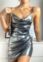 Load image into Gallery viewer, Silver Metallic Wet Look Cowl Neck Mini Party Dress
