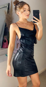Load image into Gallery viewer, Black Metallic Wet Look Cowl Neck Mini Party Dress