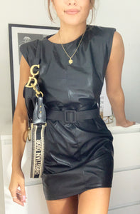 Black Faux Leather Belted Mini Dress