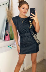 Załaduj obraz do przeglądarki galerii, Black Faux Leather Belted Mini Dress
