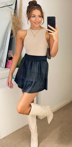 Black Faux Leather Elastic Mini Skirt