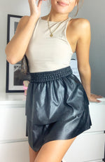Load image into Gallery viewer, Black Faux Leather Elastic Mini Skirt
