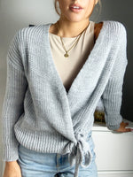 Load image into Gallery viewer, Riga Knitted Chunky Wrap Cardigan With Tie Belt Grey