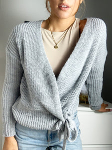 Riga Knitted Chunky Wrap Cardigan With Tie Belt Grey