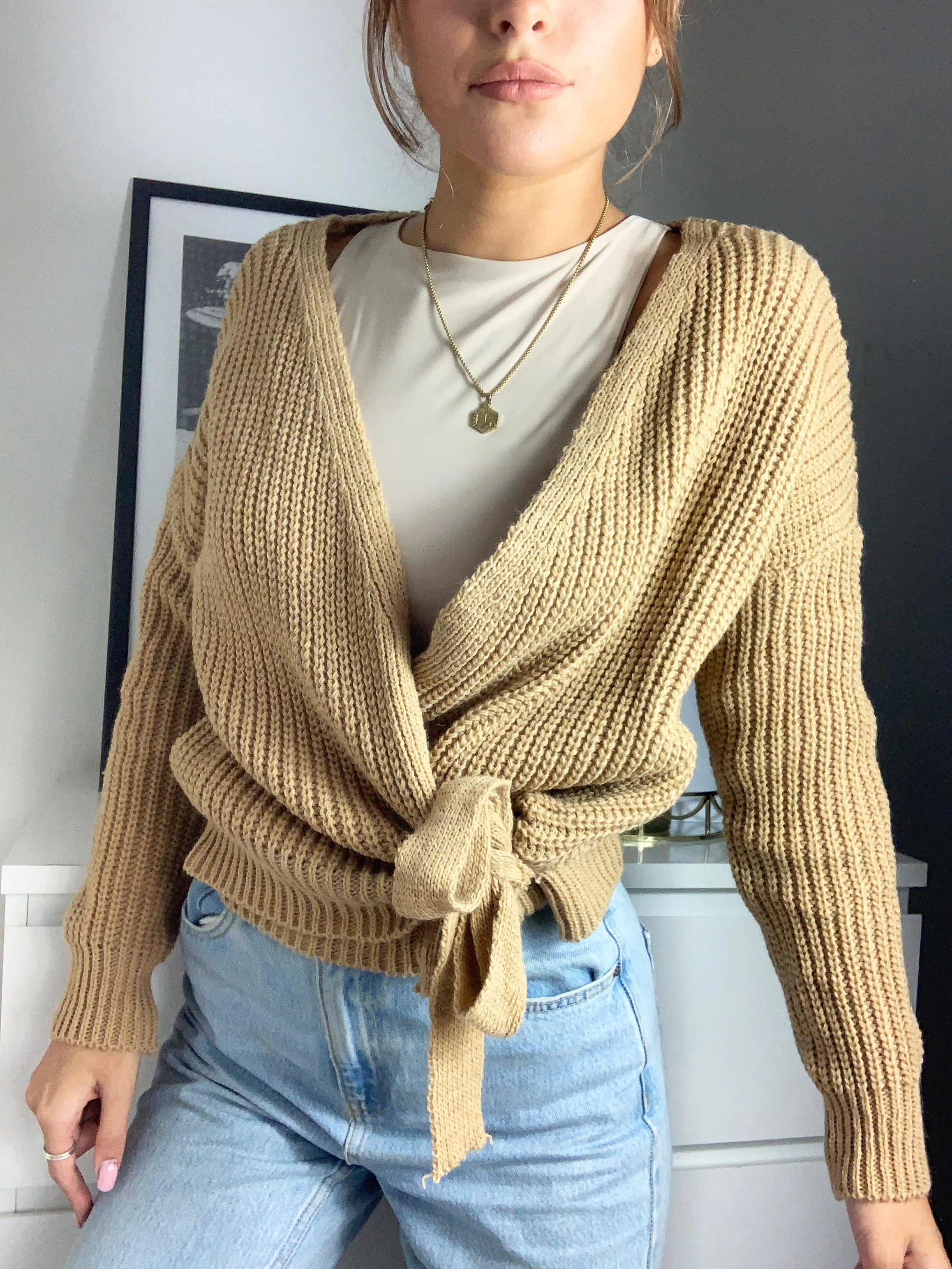 Riga Knitted Chunky Wrap Cardigan With Tie Belt Mustard Yellow