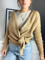 Load image into Gallery viewer, Riga Knitted Chunky Wrap Cardigan With Tie Belt Mustard Yellow