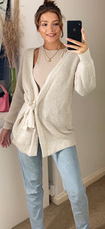 Load image into Gallery viewer, Malmö Longline Chunky Wrap Cardigan In Ivory