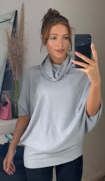Load image into Gallery viewer, Forte Cowl Neck Oversize Pleat Detail Light Grey Knit