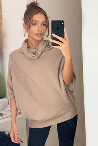 Forte Cowl Neck Oversize Pleat Detail Light Nude Knit