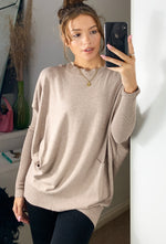 Load image into Gallery viewer, Siena Longline Boat Neck Nude Knit With Pockets