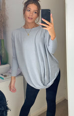 Load image into Gallery viewer, Siena Longline Boat Neck Grey Knit With Pockets