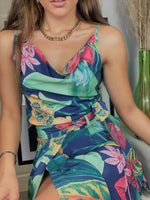 Carica l'immagine nel visualizzatore di Gallery, Summer Cami Top In Tropical Navy Floral With Cowl Neck