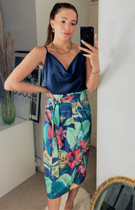 Adjustable Summer Wrap Over Midi Skirt In Tropical Navy Floral