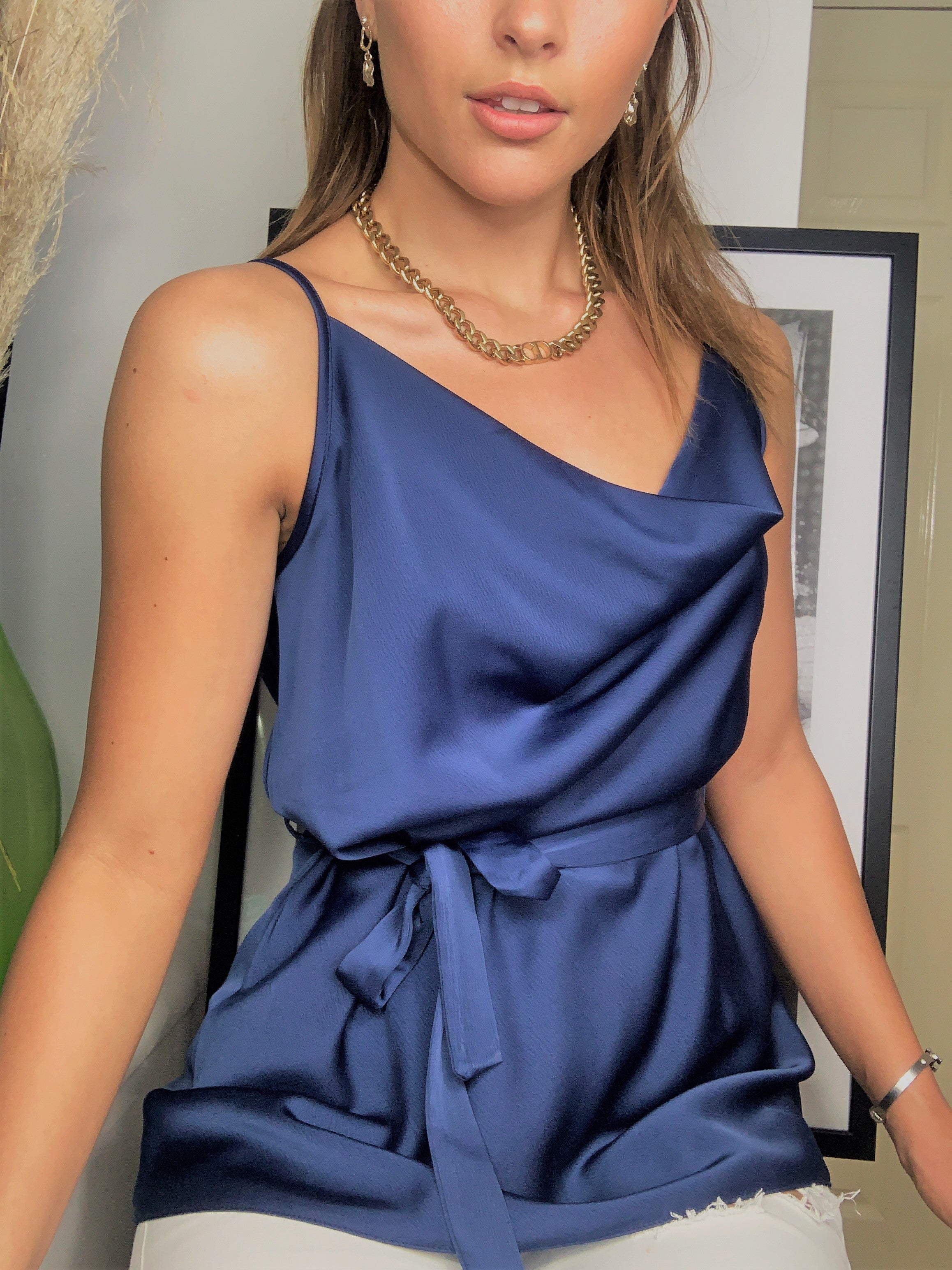 Summer Cami Top In Navy Satin With Cowl Neck And Belt