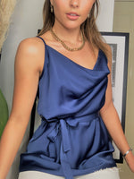 Load image into Gallery viewer, Summer Cami Top In Navy Satin With Cowl Neck And Belt
