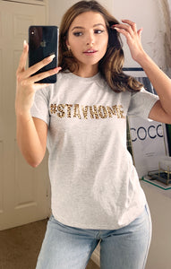 Stay Home Leopard Slogan T-shirt in Grey