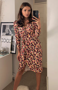 Peru Brushed Spot Summer Midi Wrap Dress With Long Sleeve