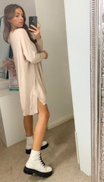 Load image into Gallery viewer, Amalfi Relaxed Longline Ivory Loungewear Knitted Jumper