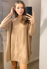 Load image into Gallery viewer, Amalfi Relaxed Longline Camel Loungewear Knitted Jumper