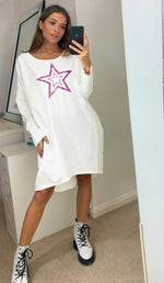Load image into Gallery viewer, Pink Leopard Star Oversized Sweatshirt Dress In White