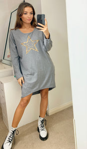 Leopard Star Oversized Sweatshirt Dress In Grey