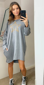 Load image into Gallery viewer, Leopard Star Oversized Sweatshirt Dress In Grey