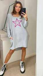 Load image into Gallery viewer, Pink Leopard Star Oversized Sweatshirt In Grey