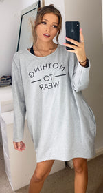 Załaduj obraz do przeglądarki galerii, Nothing to Wear Grey Sweatshirt Loungewear Dress with Slogan