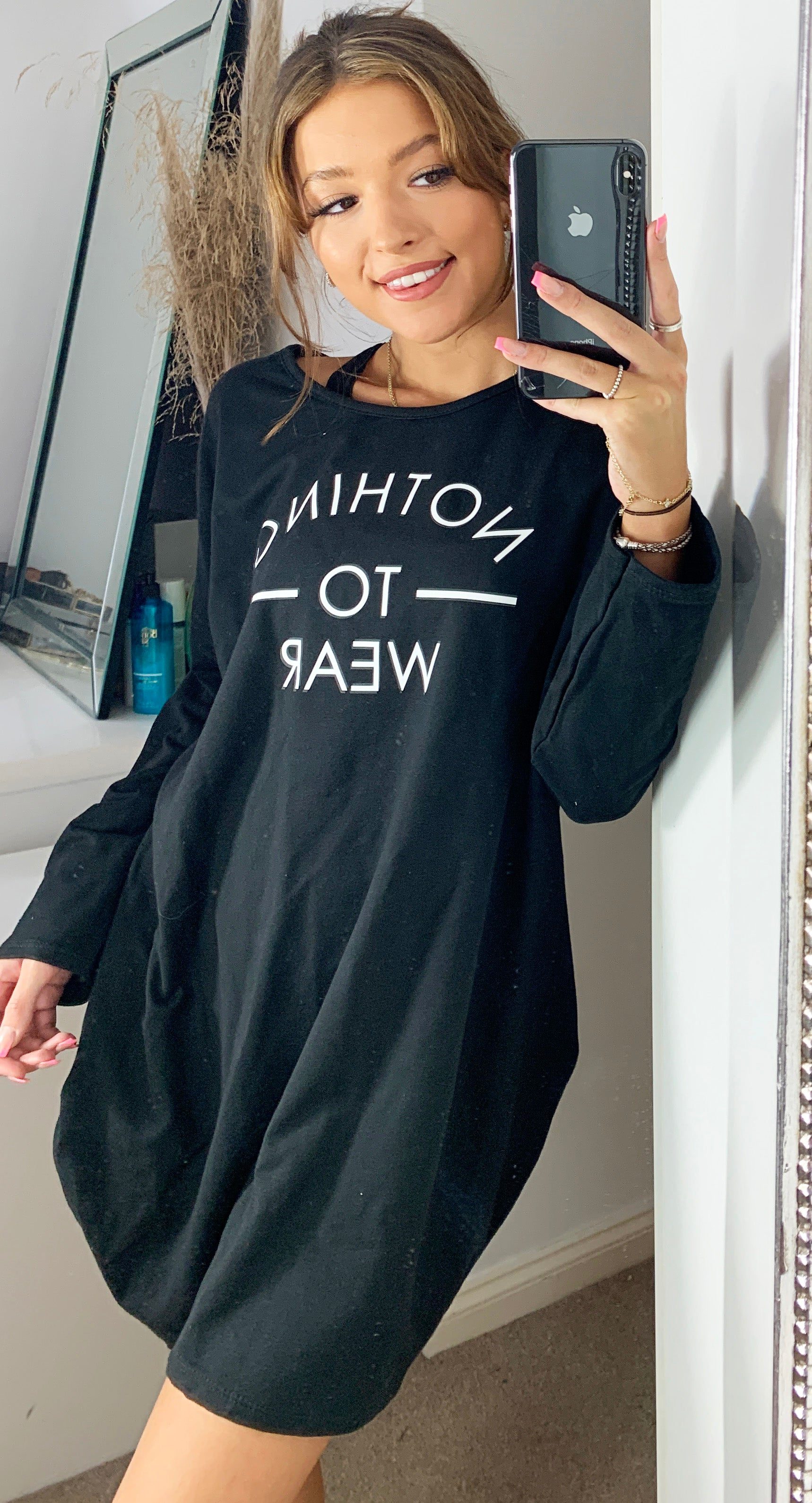 Nothing To Wear Sweatshirt Loungewear Dress in Black with Slogan