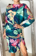 Load image into Gallery viewer, Malibu Navy Floral Frill Hem Midi Dress
