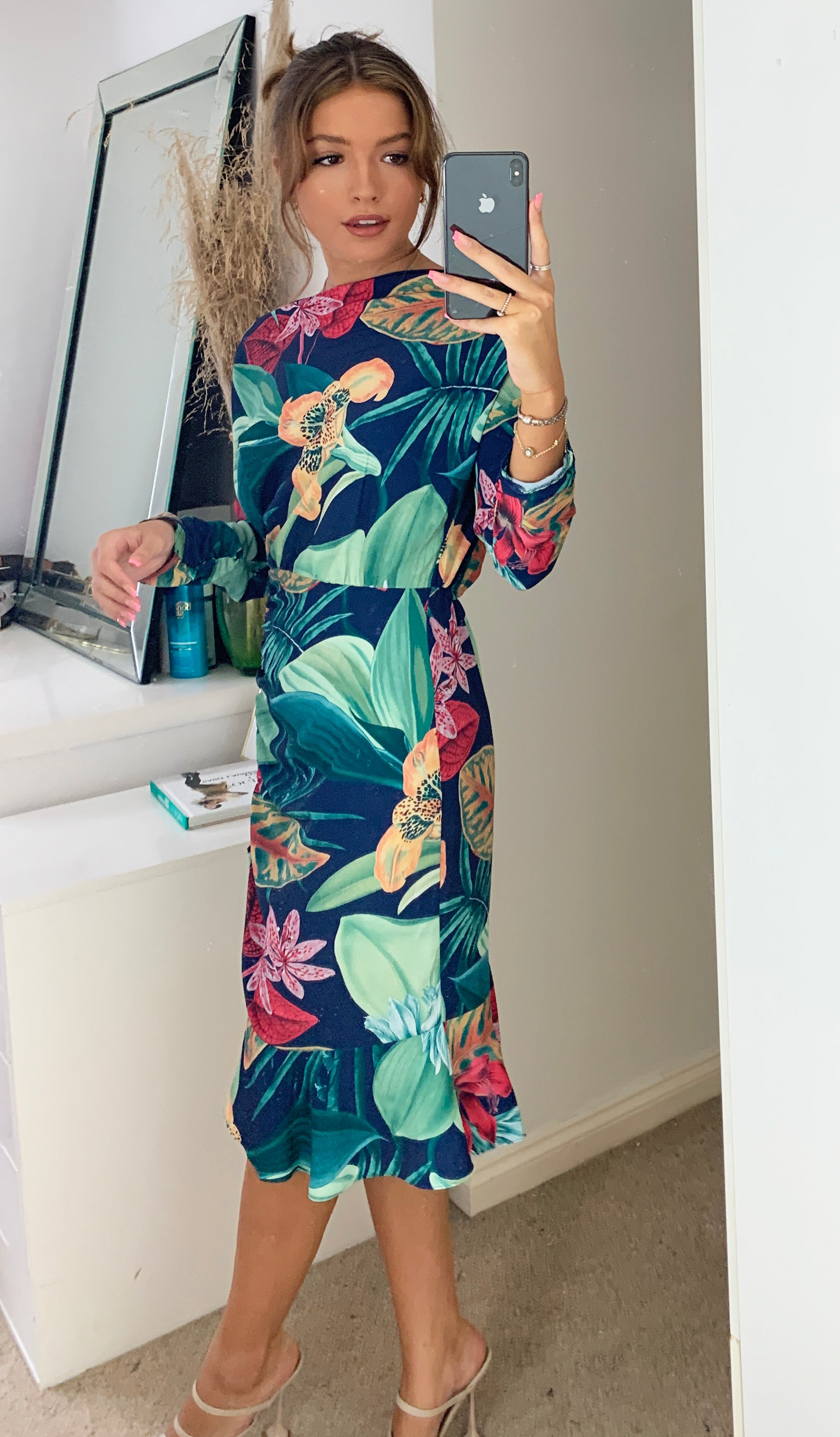 Malibu Navy Floral Frill Hem Midi Dress