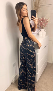Relaxed Fit High Waist Wide Leg Loungewear Trousers In Marbled Black