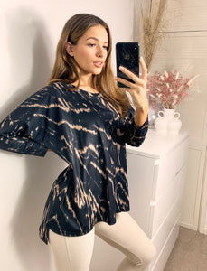 Relaxed Fit Oversized Loungewear Top In Black Marble