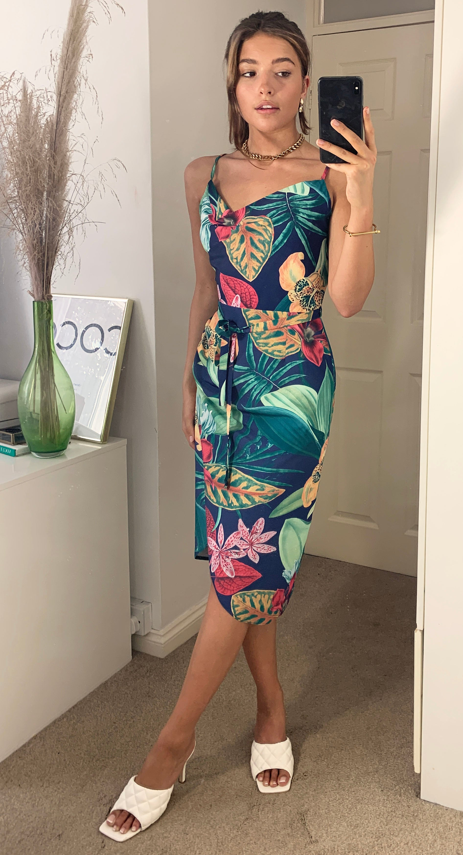 Navy Tropical Floral Summer Midi Wrap Dress With Cowl Neck