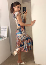 Load image into Gallery viewer, Mallorca Multifloral Midi Summer Dress With Frill Hem And Angel Sleeves