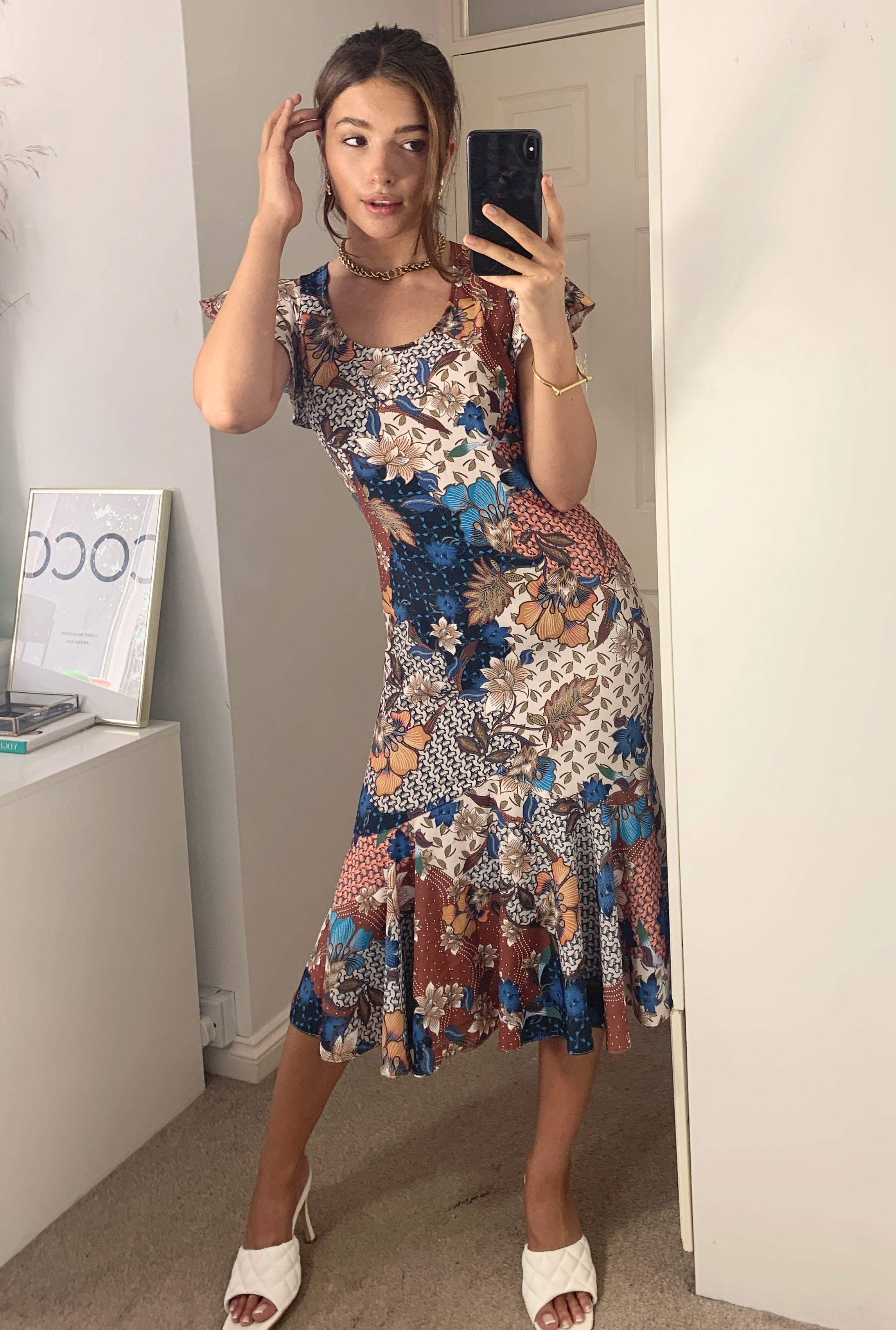 Mallorca Multifloral Midi Summer Dress With Frill Hem And Angel Sleeves