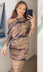 Load image into Gallery viewer, Ontario Marbled Batwing Long Sleeve Midi Dress Khaki