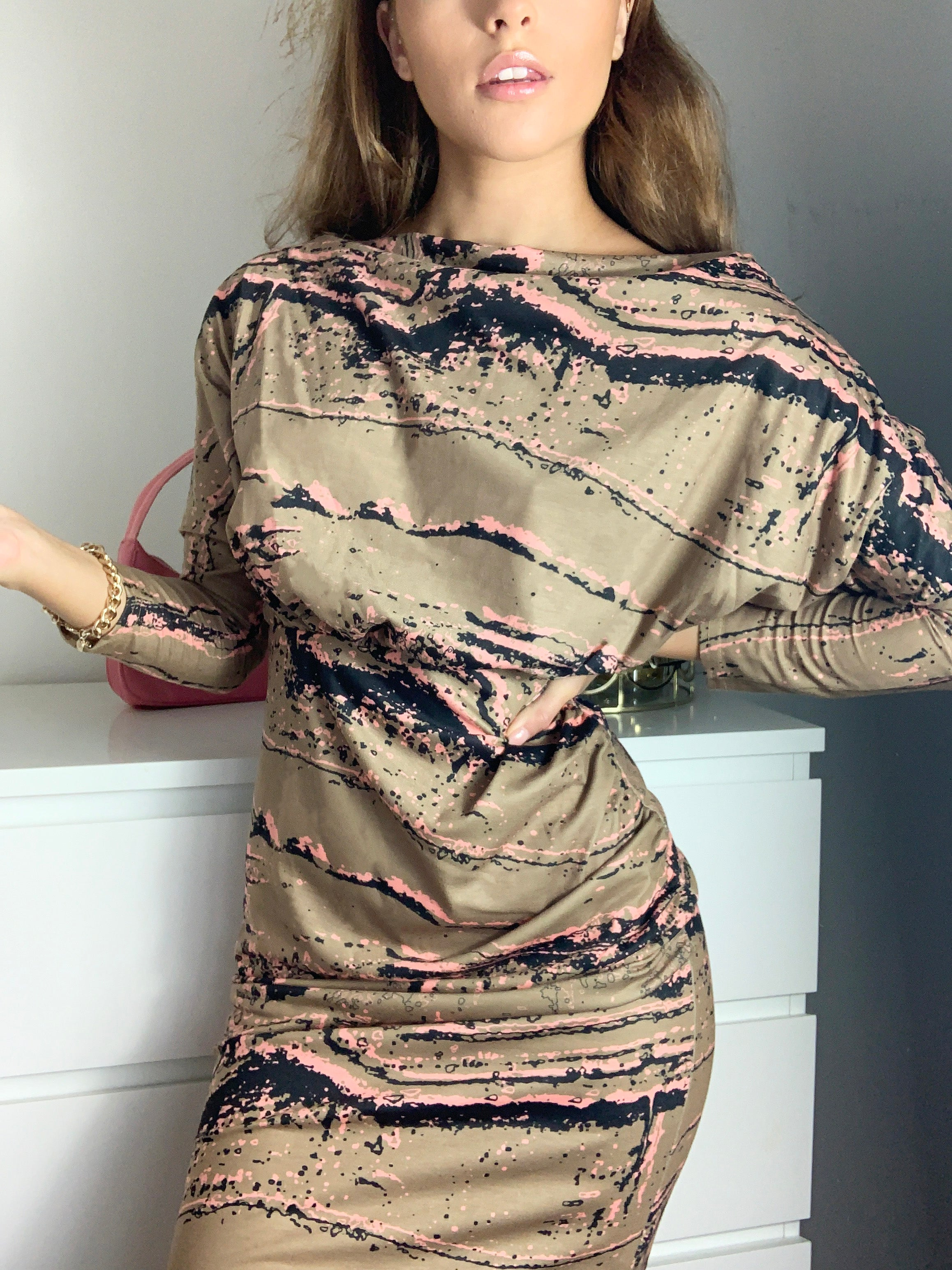 Ontario Marbled Batwing Long Sleeve Midi Dress Khaki