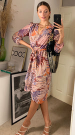 Load image into Gallery viewer, Oslo Leaf Patchwork Long Sleeve Midi Wrap Dress