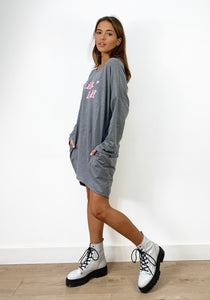 Livin' Doll Oversized Sweatshirt In Grey