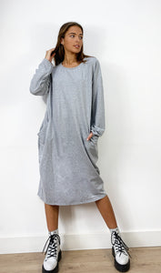 Oversized Sweatshirt Dress In Grey With Pockets