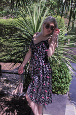 Load image into Gallery viewer, Black White Floral With Pink Spot Summer Midi Wrap Dress In Satin Touch