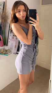 Dove Grey Mini Slinky Wrap Dress With Cami Cowl Neck