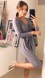 Load image into Gallery viewer, Peru Dove Grey Midi Wrap Dress With Long Sleeve