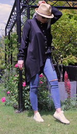 Load image into Gallery viewer, Black Leopard Satin Oversize Asymmetrical Shirt With Pearl Buttons