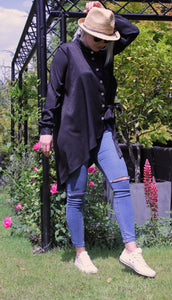 Black Leopard Satin Oversize Asymmetrical Shirt With Pearl Buttons