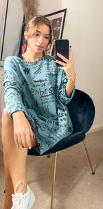 Load image into Gallery viewer, Printed Oversize Loungewear Sweatshirt Dress Teal